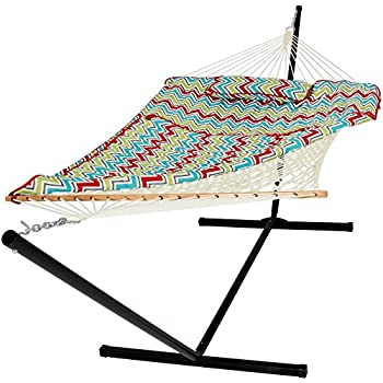 best choice products cotton multicolor rope hammock and stand  bo w  pad pillow amazon     best choice products cotton rope hammock  u0026 12 feet      rh   amazon