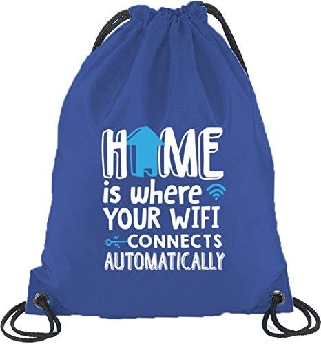 Shirtstreet24, Home Wifi, Turnbeutel Rucksack Sport Beutel Royal Blau