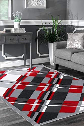 Viventez Avalon Collection Modern Abstract Red Gray Black White Area Rug Carpet (5'2''x7'2'') Red