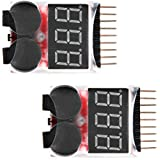 Floureon 2 Packs of RC Lipo Battery Monitor Alarm Tester Checker Low Voltage Buzzer Alarm with LED Indicator for 1S-8S Lipo LiFe LiMn Li-ion Battery