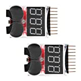 Virhuck 2pcs Remote Control Helicopter Multicopter Spare parts Lipo LiFe LiMn Li-ion Battery Monitor Alarm Low Voltage Buzzer Alarm Indicator 1S-8S Lipo LiFe LiMn Li-ion Battery Tester