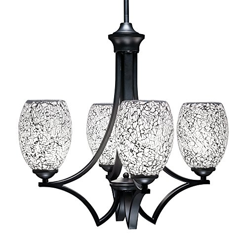 Toltec Lighting 564-MB-4165 Zilo 4 Light Chandelier with 5″ Black Fusion Ice Glass, Matte Black Finish