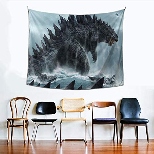Little Monster Kaiju Godzilla Sea Prints Tapestries Artwork Wall Blanket Tapestry Wall Hanging Wall Art Poster for Dinning Room Party Modern Wall Decor 90x60in 229x152cm