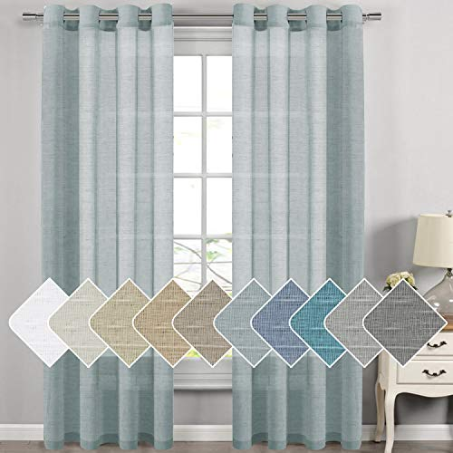 Nickel Grommet Linen Sheer Curtains - 2 Pieces, Beautiful, Elegant, Natural Light Flow, Rich Quality Material, Highly Durable Curtain Panels for Bedroom/Living Room (52