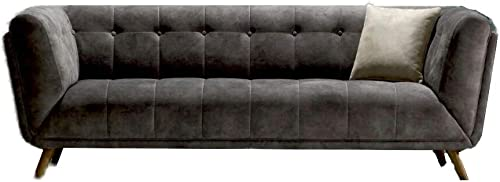 Casa Mare Smoke Gray Loveseat Mid-Century Modern Tufted Chesterfield Leo