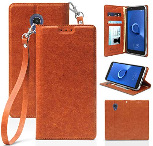 [Brown] Leather Wallet Case Credit Card Slot ID Cover, View Stand Subtle Magnetic Closure and Lanyard for Alcatel TCL LX, A502DCP, A502DL (TracFone/Straight Talk/Simple Mobile/Total/Walmart Family)