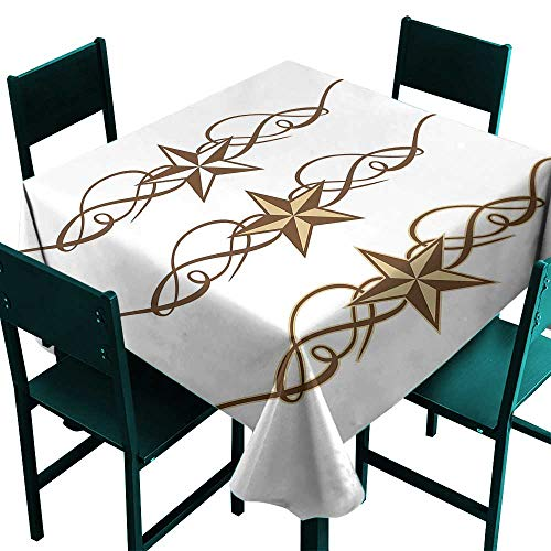 Primitive Country Decor Tablecloth Birthday Western Stars Scroll Design Ornate Swirls Antique Artistic Brown Light Coffee Tablecloth for Square Table W 60