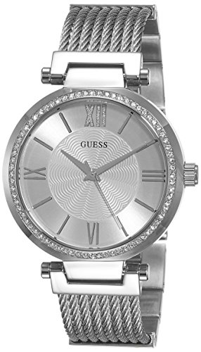 guess women 39 s quartz watch with silver dial analogue. Black Bedroom Furniture Sets. Home Design Ideas