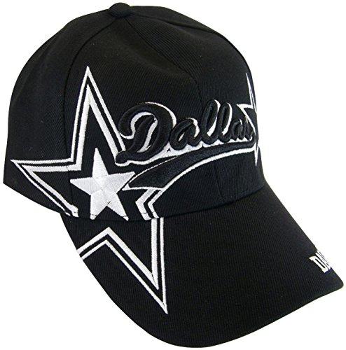 BVE Sports Novelties Dallas Texas Men's Stars & Stripes Adjustable Baseball Cap (SS Black) ()