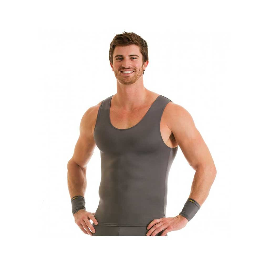 Insta Slim IS PRO Activewear Compression Tank T-shirt, (Grey, 3XL)