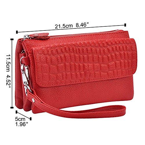 with Handbag Bag Cckuu Shoulder Adjustable Coffee Red Clutch Strap Ladies Large Wristlet EX1qYxFq