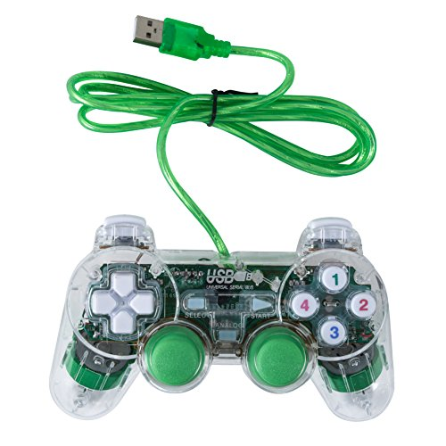 Bowink USB Pc Computer Vibration Shock Wired Gamepad Game Controller Joystick Game Pad (Clear Green)