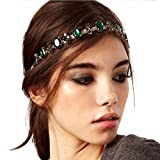 LittleB Baroque Headbands Jewelry Rhinestone&Alloy Hair Chain for Women and Girl. Gold