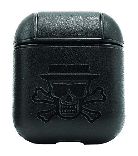 Movie Film Breaking Bad HEINSBERG Skull Crossbones (Vintage Black) Air Pods Protective Leather Case Cover - a New Class of Luxury to Your AirPods - Premium PU Leather and Handmade exquisitely
