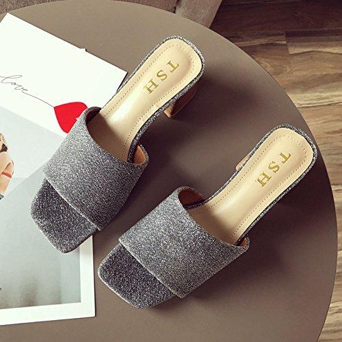 Cool Medio Tacon Oro De SFSYDDY Son De Talon Y Seda Mujer De Verano Zapatillas gray Grueso Tela Dedo Fugas De Zapatos Tipografía La Y Cómodas xqHAxP