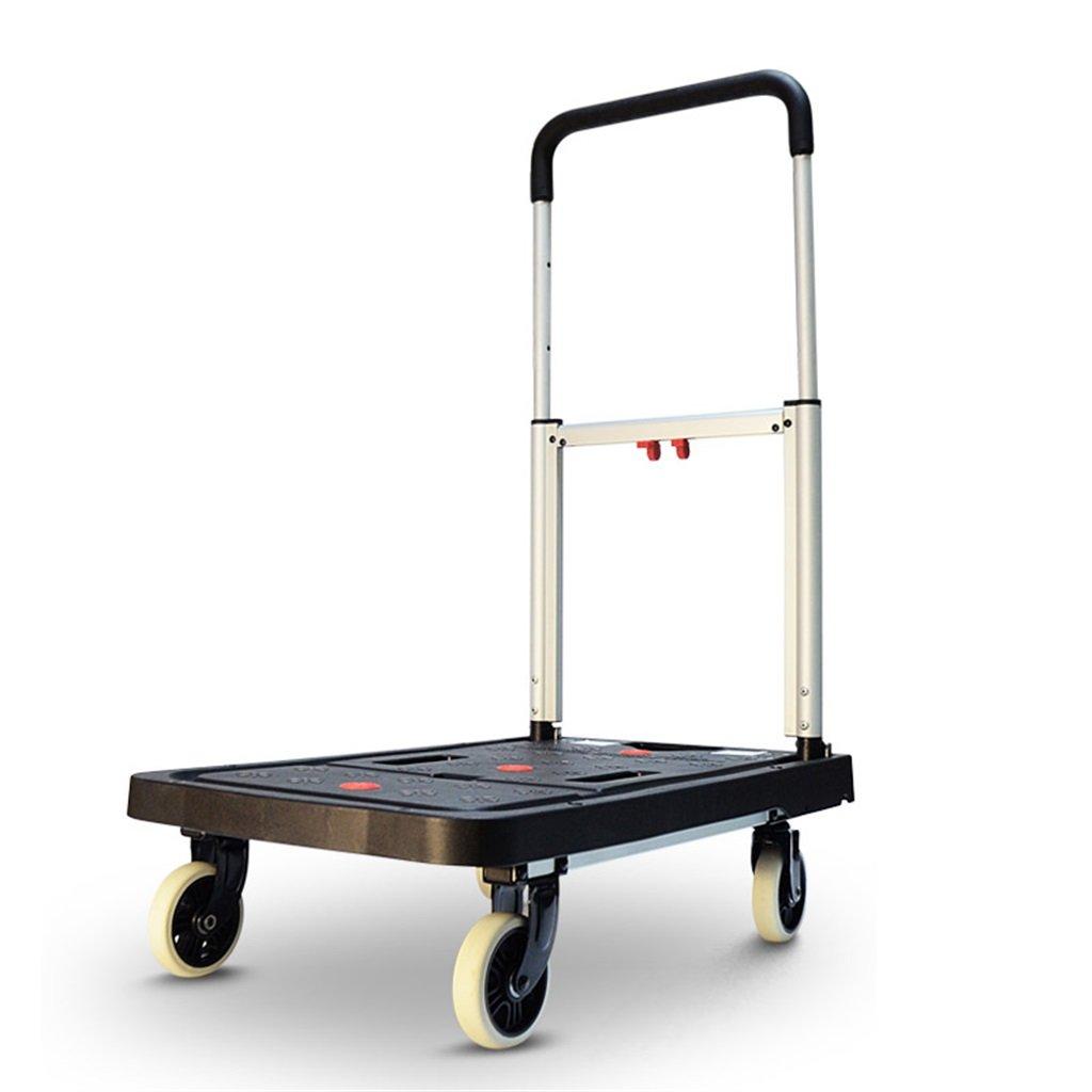 家庭用四輪フラットカートハンドトラック折り畳みトロリーミュートポータブルプルトラックロードキングバン3色 使いやすい (色 : A) B07MMV9DGN A
