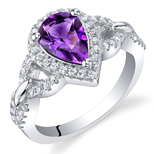 Amethyst Sterling Silver Halo Crest Ring Size 5 1 Ct Amethyst Solitaire