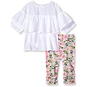 Mud Pie Baby Girls Floral Tunic and Legging 2 Pc Playwear Set, Pink, 0-6 Months