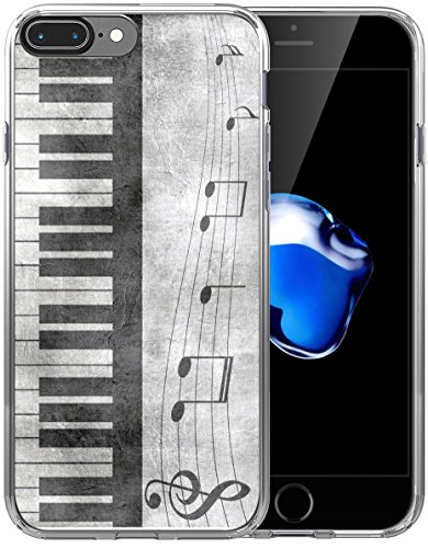(8 Plus Case Music/IWONE Designer Non Slip Rubber Durable Protective Replacement Skin Transparent Cover Shockproof Compatible with iPhone 7/8 Plus + Retro Musical Piano Music Note)