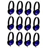 HamiltonBuhl Primo Stereo Headphones BLUE - 12 Pack