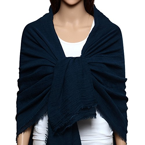 QBSM Womens Navy Blue Soft Large Crinkle Hijab Scarfs Shawls Solid Cotton Sheer Wraps Cover Up by QBSM (Image #1)