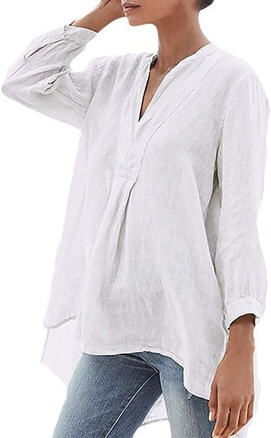 Camisa de Manga Larga para Mujer, de algodón y Lino, con ...