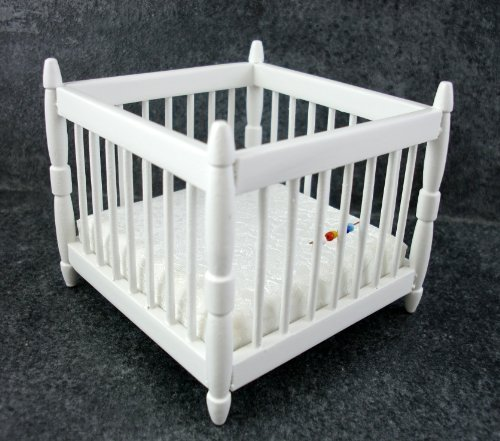 Dolls House Nursery Furniture Baby's White Playpen 047W by Town Square Miniatures
