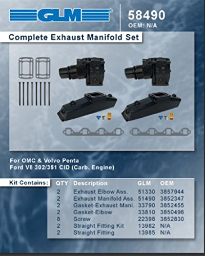 OMC VOLVO PENTA COMPLETE EXHAUST MANIFOLD SET | GLM Part Number: 58490
