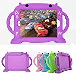 iPad Case for Kids, New iPad 2017 / iPad Pro/iPad Air 1 2 / iPad 5 6 Cute Case 9.7 inch Universal Shockproof Silicone Protective Cover with Self Stand [BPA Free][Side Handles] (Purple)