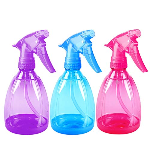 (DilaBee Pack of 3-12 Oz Empty Plastic Spray Bottles - Attractive Vibrant Colors - Multi Purpose Use Durable BPA Free)