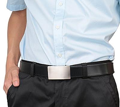 Beltox Men's Top Grain Bridle Leather Dress Belt No Ratchet Automatic Buckle