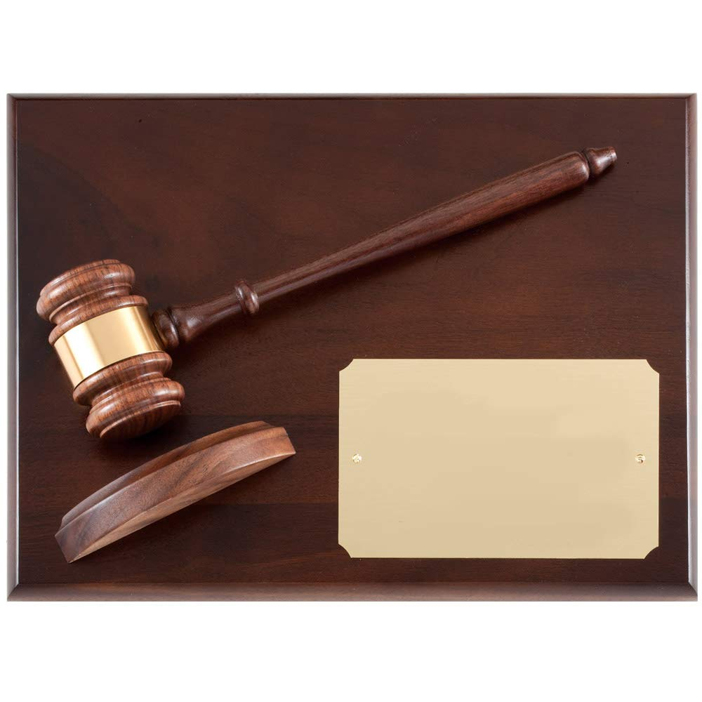 Customizable Genuine Walnut Gavel Plaque with Gavel Block, Includes Personalization by Awards and Gifts R Us