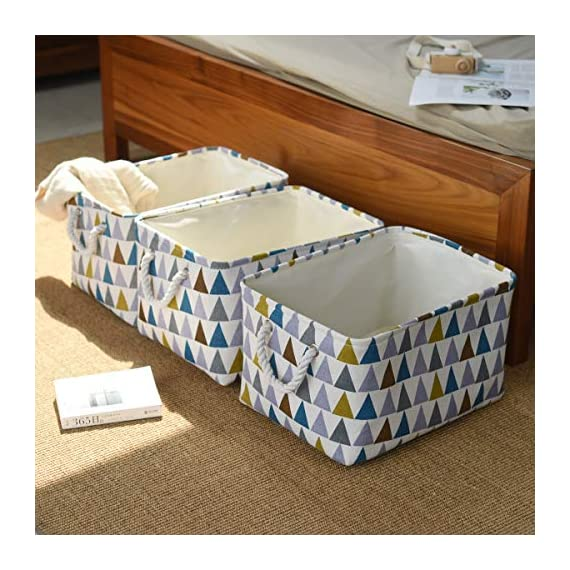 """Fabric Storage Baskets 3-Pack Rectangle Storage Basket Collapsible Baskets for Organizing with Handles for Shelves… - 3 Pack Storage Baskets-15.5"""" L x 11.8"""" W x 8.3"""" H,Functional storage baskets use in the playroom, family room, laundry area, bedroom, closet, storage room, car, etc - Ideal toy baskets or shelf baskets for storage organizer shelves, Home Closet, bookcase , desk, or floor Premium Quality Fabric-This fabric basket is made of durable canvas and thicken environmental EVA,sturdy metal rod frame around the top for stability to keeps its shape even when empty. Durable and high quality material make this storage basket last a good long time.Reinforced cotton rope handles make for easy and comfortable transporting Multi Purpose-Perfect storage basket for toys, books, magazines,dog toys basket,shoe basket,clothes basket,shelf,baby bin,pet toy storage,towel basket,blankets,decorations. Collapsible basket set provides attractive, lightweight solutions to many storage needs while keeping household items tidy and organized - living-room-decor, living-room, baskets-storage - 513QYs34ruL. SS570  -"""