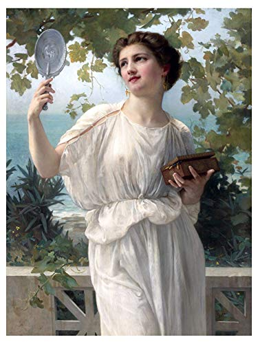 Admiring Beauty by Guillaume Seignac Girl Woman Mirror Seascape Casket Accent Tile -