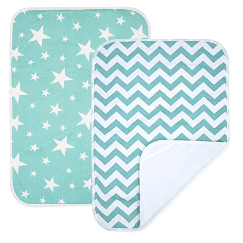 PEKITAS 2 Pack Waterproof Diaper Changing Pads Travel Friendly Super Soft Fabric Size 19.5 X 27.5 inches (Medium,0-1 Year),Green Series