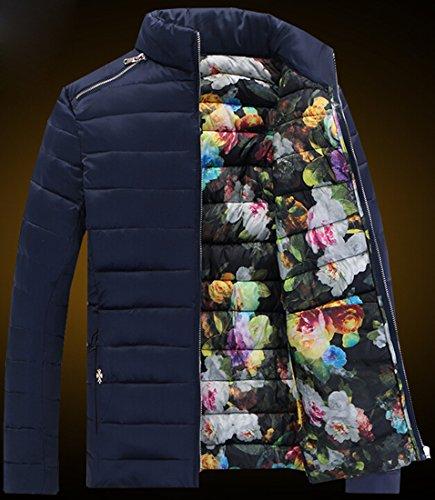 Warm xxxl Casual Jackets Stitching Mens EKU Cotton Zipper blue padded Coat wEqaxg