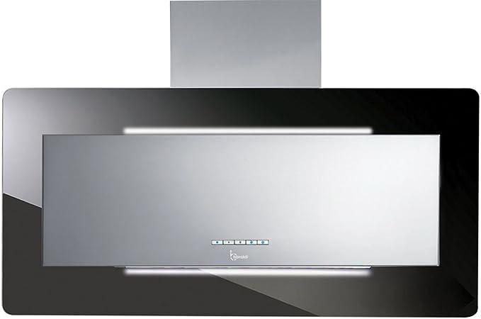 Baraldi diseño Campana extractora de Cocina trisia 90 cm, 800 M3/H, Cristal, Negro/Acero: Amazon.es: Hogar