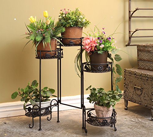Dipamkar®3 Töpf Metall Pflanzer stnad Weinlese Blumenständer schwarz Blumentreppe