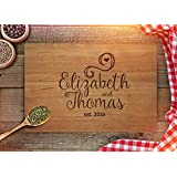 Personalized Cutting Board Customized Anniversary Gift Engraved Cutting Board - Name - Est. Year Engraving - Wedding Present - CB232 (Cherry, 9x12)