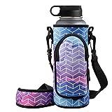 RoryTory Neoprene Water Bottle Sleeve Carrier Holder with Shoulder Strap, Pouch, Pocket & Carrying Handle (Fits 32oz / 40oz Hydro Flask, Nalgene, Juglug, Contigo, etc) - Geometric Design