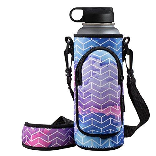 Lifeline Water Bottles - RoryTory Neoprene Water Bottle Sleeve Carrier Holder with Shoulder Strap, Pouch, Pocket & Carrying Handle (Fits 32oz / 40oz Hydro Flask, Nalgene, Juglug, Contigo, etc) - Geometric Design