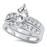 CloseoutWarehouse Marquise Center with Round Stones Cubic Zirconia Wedding Set Ring Sterling Silver Size 6