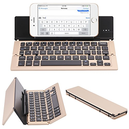 (NOVT Foldable Ultra-Slim Aluminum Bluetooth Keyboard with Tablet/Phone Stand for iPhone 7 Plus/7/6s,iPad 4/3/2/1, iPad Pro 9.7, iPad Air 2/1,iPad mini 4/3/2, Samsung Galaxy Android Smart Phones (Gold))