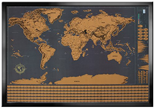 Wonderful Maps Scratch Off World Map. Perfect Gift for Travelers. With Country Flags, US States, Australian States and Canadian Provinces On Black Background. Prime World Scratch Map Poster.