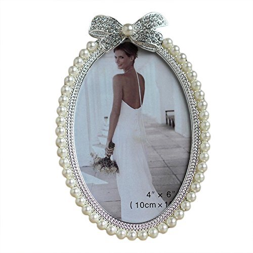 Home-organizer 5x7 Inches Metal Faux Pearl Photo Frame Picture Frame Special Occasion Anniversary Wedding Gift Photo Frame for Wedding, Birthday Party, Christmas, Easter, New ()