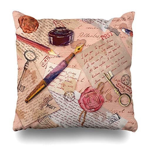 Ahawoso Throw Pillow Cover Scrap Vintage Aged Hand Written Notes Keys Writing Tools Postal Stamps Pattern Drawing Home Decor Pillowcase Square Size 20