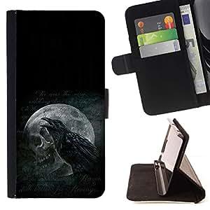 Momo Phone Case / Flip Funda de Cuero Case Cover - Cuervo y del cráneo;;;;;;;; - Samsung Galaxy S5 Mini, SM-G800