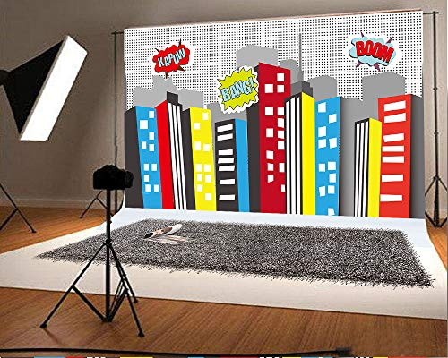 7ft(W) x5ft(H)(220x150cm) Cityscape Photography Backdrop Birthday Party and Event Decorations Super City Backdrops for Pictures