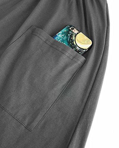 Basso Oscillare Vestiti 1 Manica Il Casual Kilig Delle Midi Grigio Vestito Verso Pulsante Lunga Donne Tasche BwBFzpq