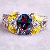by lucky Oval Cut Rainbow & White Topaz & Citrine Gemstone Silver Ring (6)